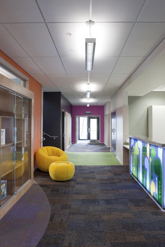 Amesbury School - reception area looking toward student entry
