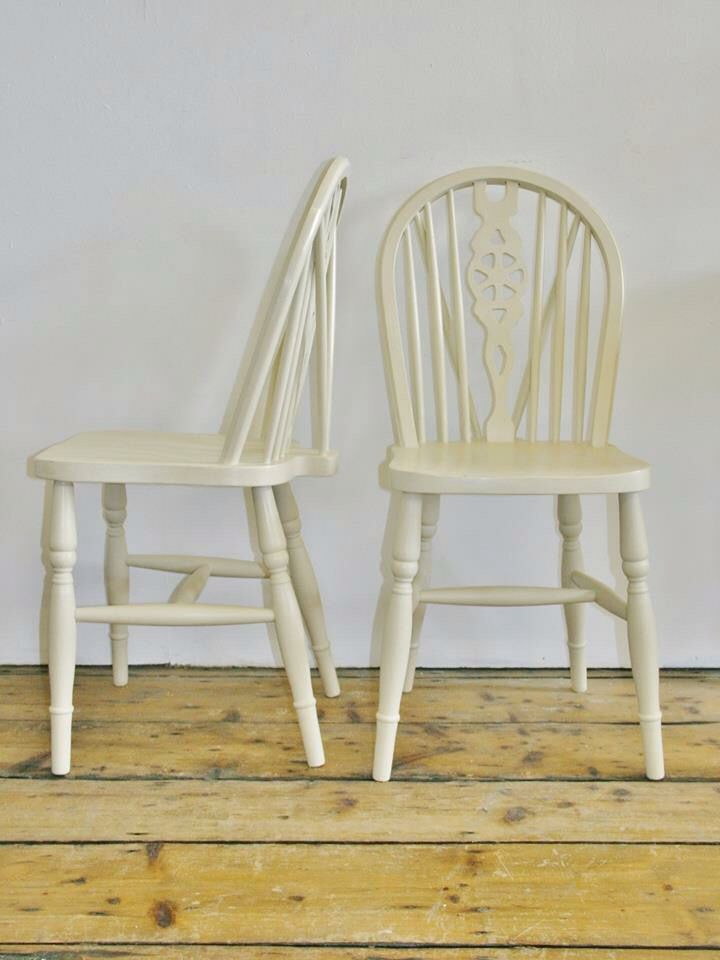 Old Ocre wheel back chairs  £60 for the pair