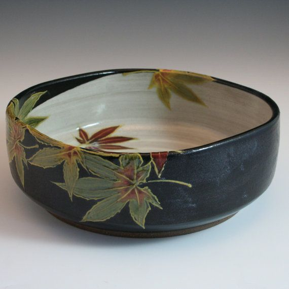 #CAPCA | JC Niehaus Pottery | Handmade stoneware low serving bowl with maple leaves in a Japanese/ Craftsman /Woodland style