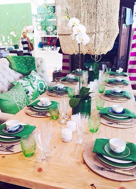 Come dine with me? Some beautiful new table settings in store! #love #tablesetting #dinnerplate #green #frenchtable #mariedaage #frenchporcelain #orchids #magnoliainteriors