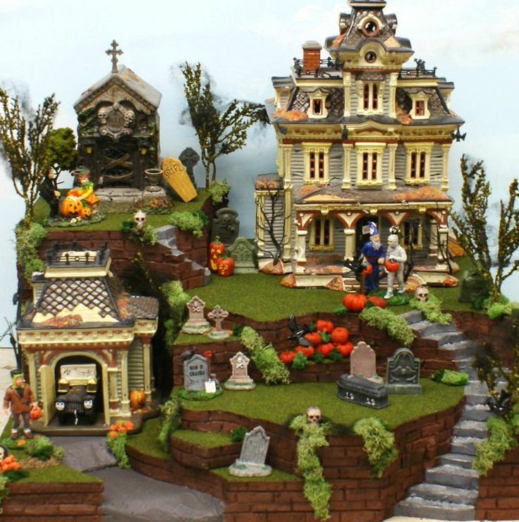 dept 56 lemax halloween snow village display platform 17x16x7 grimsly graveyard - Halloween Display Ideas