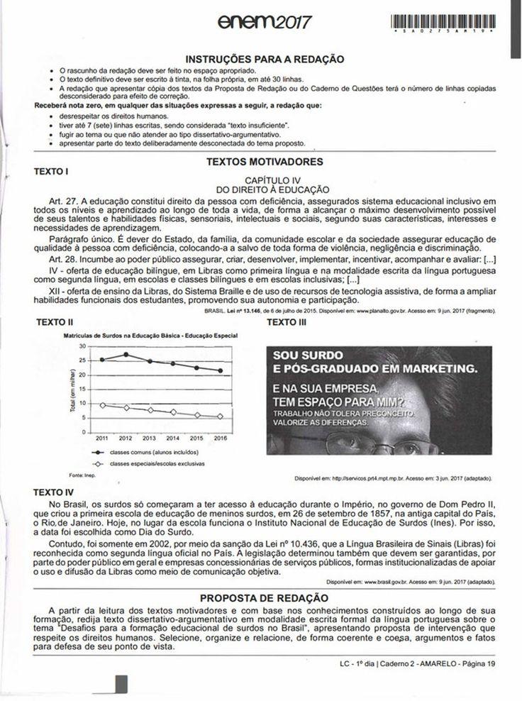 Enem 2017 Página do caderno de prova com textos motivadores para o tema de redação sobre educação para surdos. (Foto: Reprodução/G1)