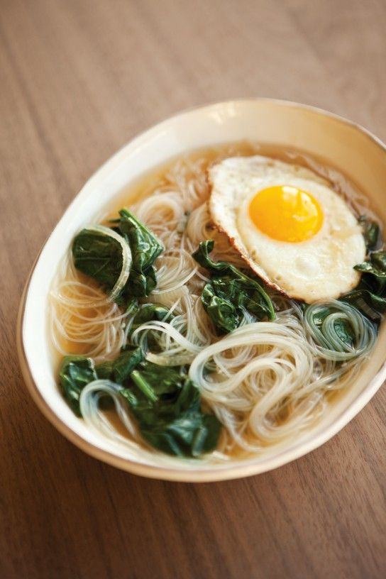 rice noodle soup with a fried egg