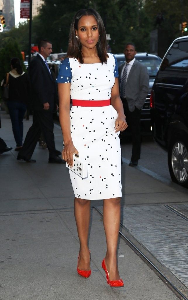 'Scandal' actress Kerry Washington is spotted out and about in New York City, New York on September 23, 2014. Whatever Kerry Washington is wearing, we want it, and that rings true for her latest accessory. The actress was spotted around New York City this week wearing this chic red, white and blue Preen Liberty Resort 2015 dress and the most gorgeous pearl earrings.