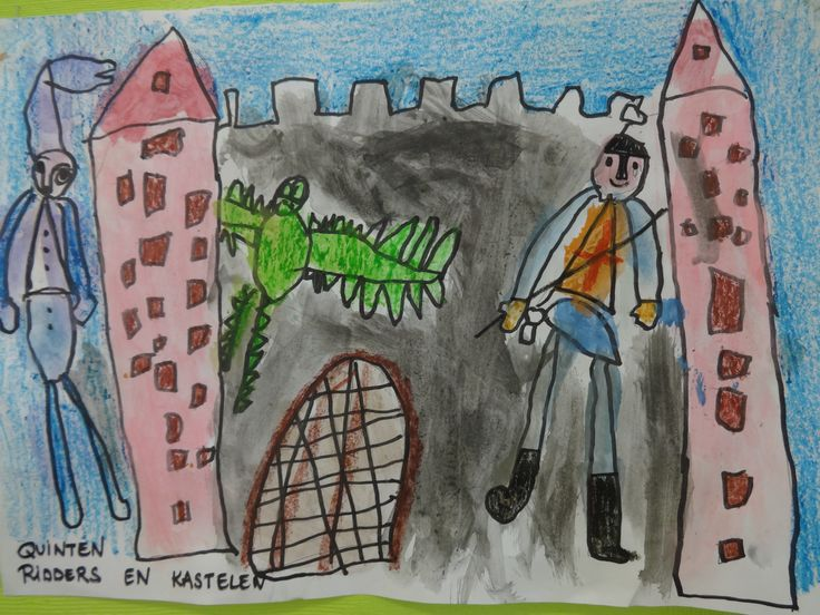 De kleuters maakten mooie tekeningen rond het thema ridders en kastelen