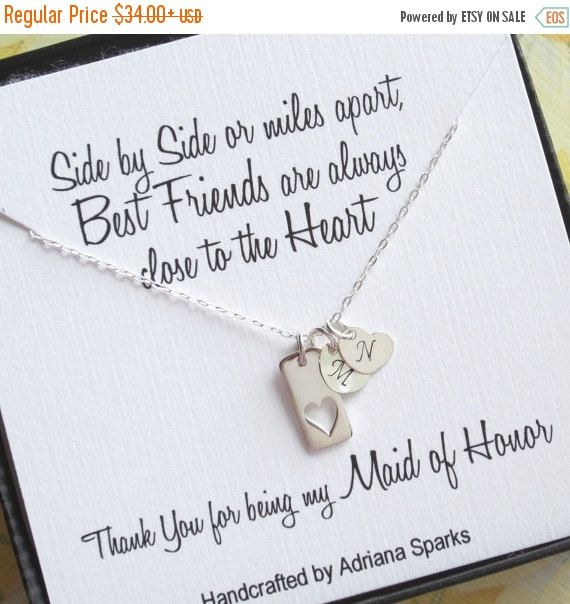 Maid of Honor Gift, Heart Necklace with Initial, Maid of Honor Thank You Card w/ Necklace, Personalized Maid of Honor Necklace, Bridal Party