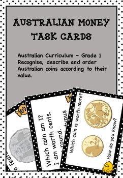 Australian Money Tasks Cards Higher Order Thinking - This resource contains 24 money task cards that require grade 1 students to use high order thinking skills.Great for maths centres, maths rotations, partner work and as extension activities.Directly related to the Australian curriculum.You may also likeWanted Numbers