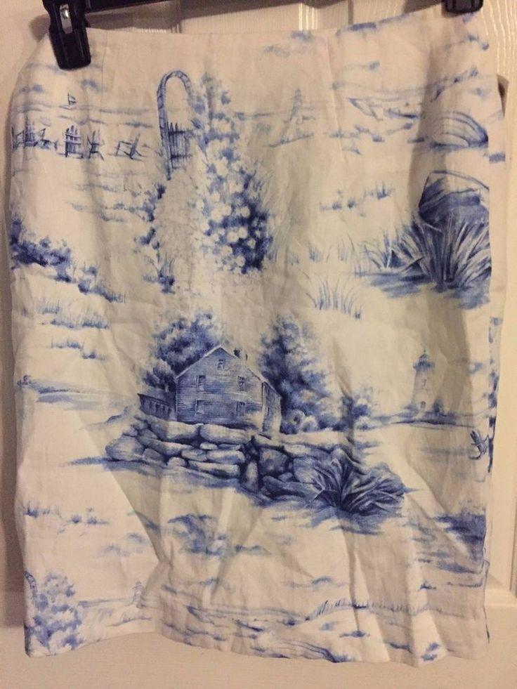 NWT Talbots Size 8 Skirt Irish Linen Country Beach Scene   #Talbots #Skirt