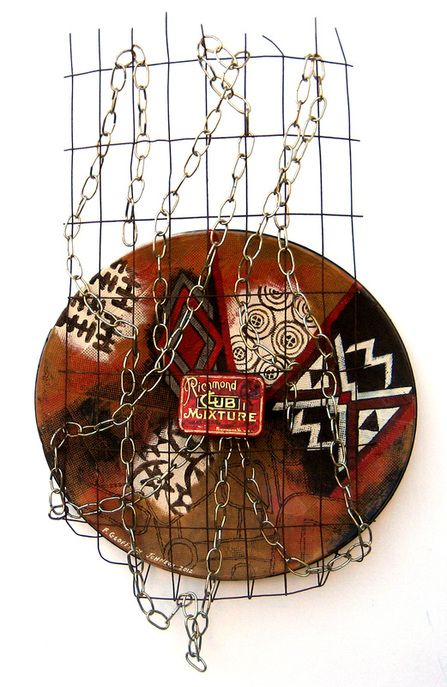"""Tobacco Road - Assemblage: Satellite dish reflector plate, rusted wire, antique tobacco tin, gold plated chain, acrylic paint, textured tape  H 34"""" x W 20"""" x D 4""""  (2012)  F. Geoffrey Johnson"""