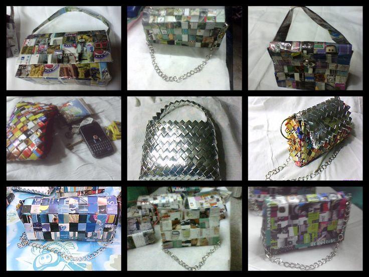 reciclando papeles de revistas y envoltorios de golosinas podes hacer bolsos, carteras y estuches,, queres aprender?