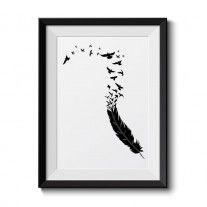 Fjer med flyvende fugle
