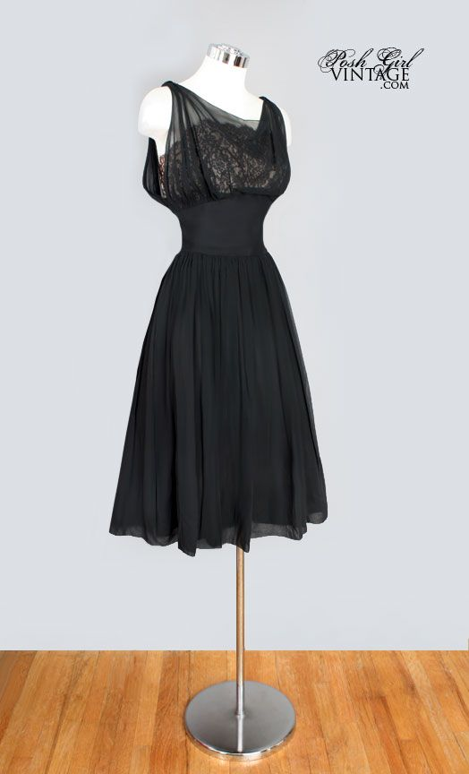 1950's Chiffon Over Lace Little Black Dress Audrey Style- M bridesmaid dress
