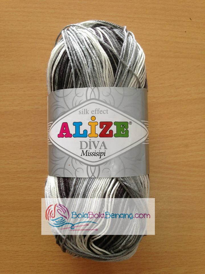 ALIZE DIVA MISSISIPI 3730, Price: 90.000,-/gulung, Bahan: 100% Microfiber Akrilik, Berat/Panjang: 100gr/350m, Knitting Needles: 2,5mm – 3,5mm, Crochet Hook: 1mm - 3mm
