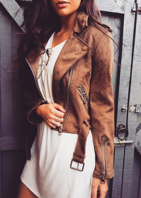 suede moto jacket + silk dress