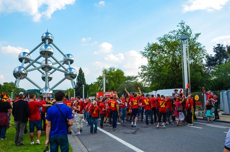 Belgian football fans near Atomium. It was during friendly between Belgium and France in August