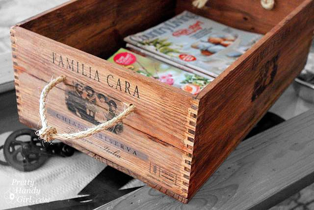 Wine Crate Magazine Holder courtesy of @prettyhandygirlDiy Ideas, Crafts Ideas, Crates Storage, Wine Crates, Ropes Handles, Country Chic Cottage, Wood Boxes, Wine Boxes, Rustic Wine