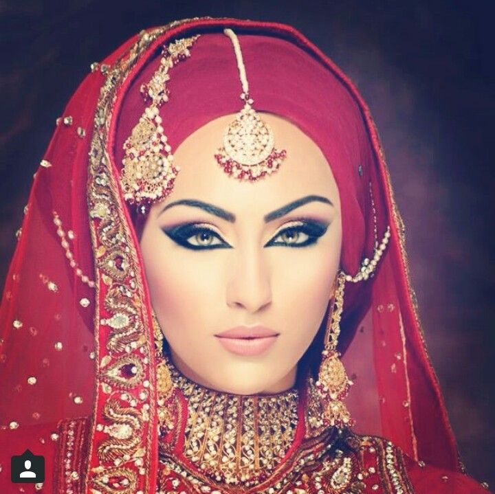 Gorgeous red hijab and dramatic eye make-up