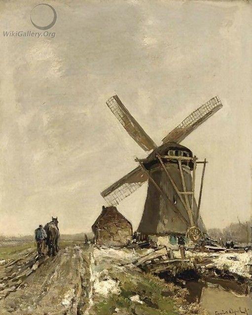 Louis Apol - Molen in besneeuwd landschap met ploegende boer