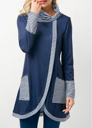 Stripe Print Cowl Neck Asymmetric Hem Navy T Shirt.