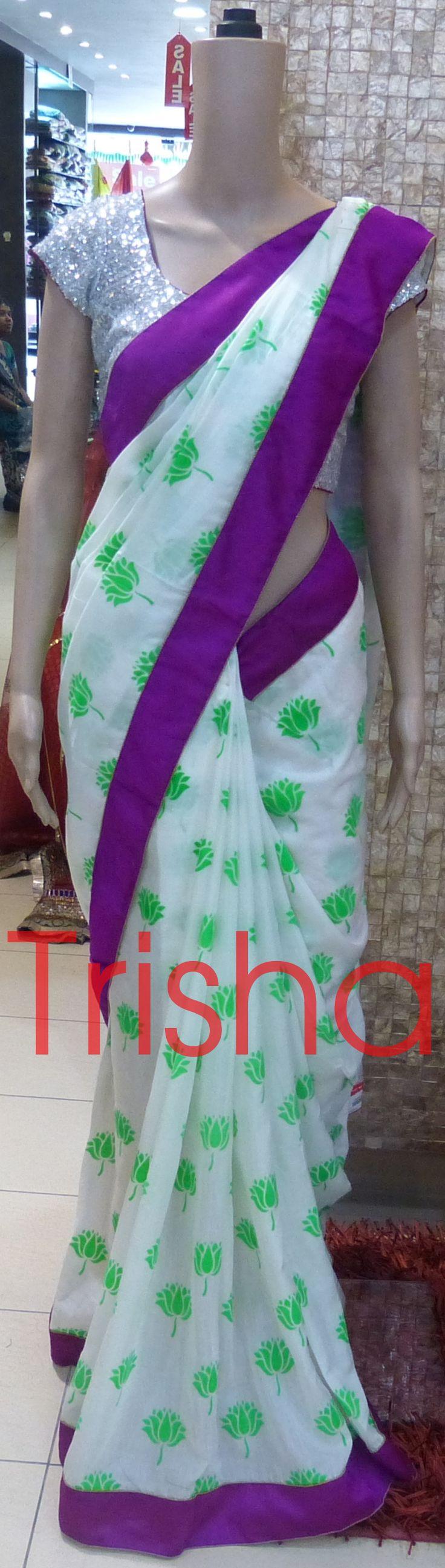 Handloom Silk Saree With Neon Print ,and Purple Raw-Silk Border