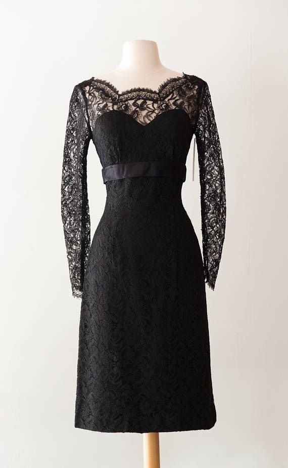 Vintage 1950s Black Lace Cocktail Dress / Sexy Vintage 50s