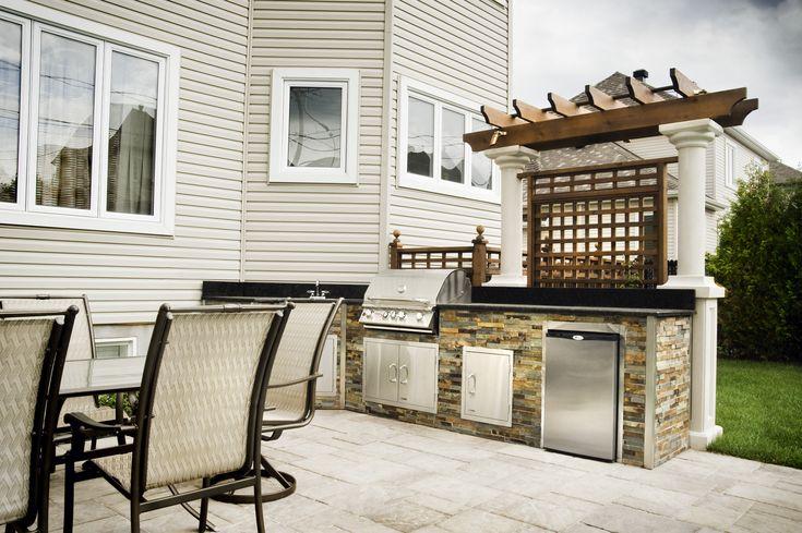 cuisine ext rieure en pierre bbq et accessoires en acier inoxydable comptoir en granit et. Black Bedroom Furniture Sets. Home Design Ideas