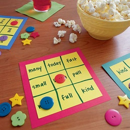 Word Bingo with buttons for markers so it is reusable - do it with sight words