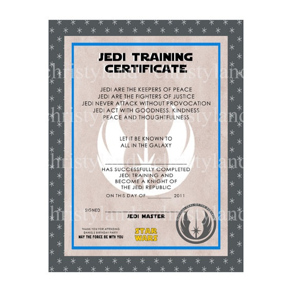 29 best certificate templates images on pinterest for Star wars jedi certificate template free