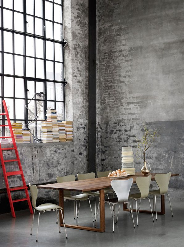 Brick loft window open plan red ladder dining room | DelysiaStyle