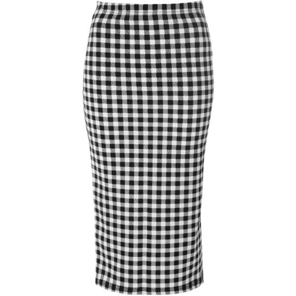 Black And White Checked Pencil Skirt (40 CAD) ❤ liked on Polyvore featuring skirts, black, bodycon skirt, black skirt, bodycon midi skirt, knee length pencil skirt and midi pencil skirt