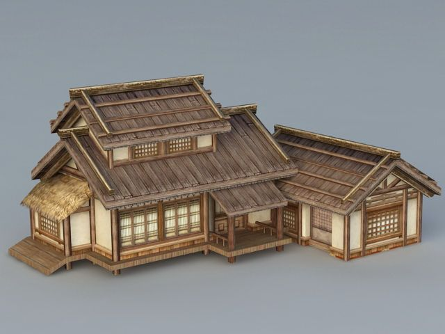 Old Japanese House 3d Model 3ds Max Files Free Download Modeling 40462 On Cadnav Japanese House Japanese Style House Traditional Japanese House