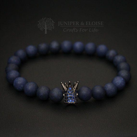 Crown Bracelet Mens Bracelet King and Queen Armband Blue