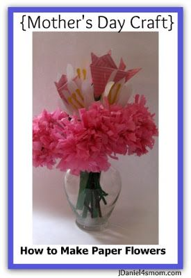 With Mother's Day right around the corner here are three paper flowers children can make. There are tissue mums, hand print lilies and folded paper tulips.  #MothersDay #craft #flowers