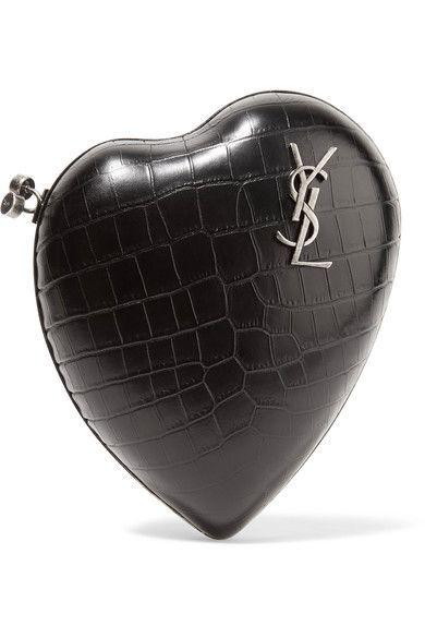 Saint Laurent | Love croc-effect leather clutch | NET-A-PORTER.COM
