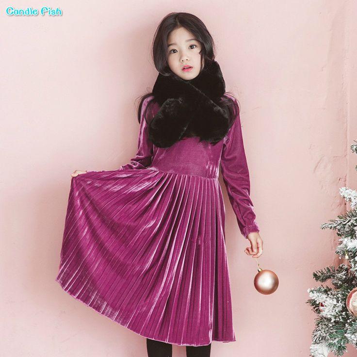 Children's clothing 2017  autumn and winter new girl long-sleeved, gold velvet, pleated dress, round neck dress