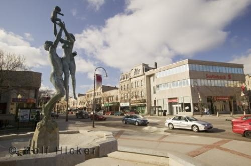 GUELPH- The core of downtown- The fountain