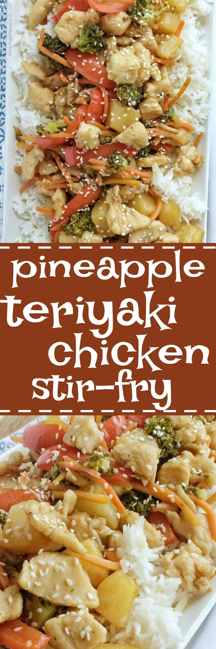 Vegetables and chicken simmer in a homemade teriyaki sauce that is so simple to make. Serve over some rice and dinner is ready. Pineapple teriyaki chicken stir-fry is a 30 minute meal that is bursting with flavor and cooks in one pan on the stove top!