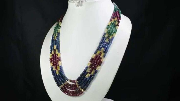 5 Strands Natural Ruby Emerald Sapphire 450ct Multi Row Gemstone Beads N...