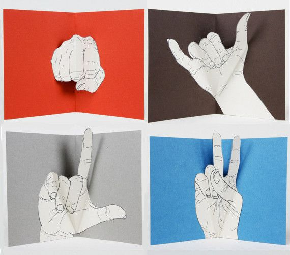 Enough Said is a series of hand made pop-up cards crafted by etsy artist Alessandra Mondolfi. Each card features a common hand gesture and is meant to serve as the sole message to the recipient.
