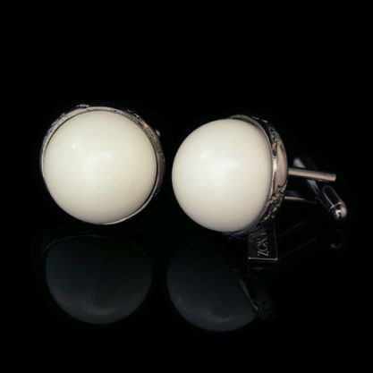 Bombè Marble Cufflinks - Zona 67 - Cufflinks marble composed of half spheres rounded 12mm, mounted on silver veins worked