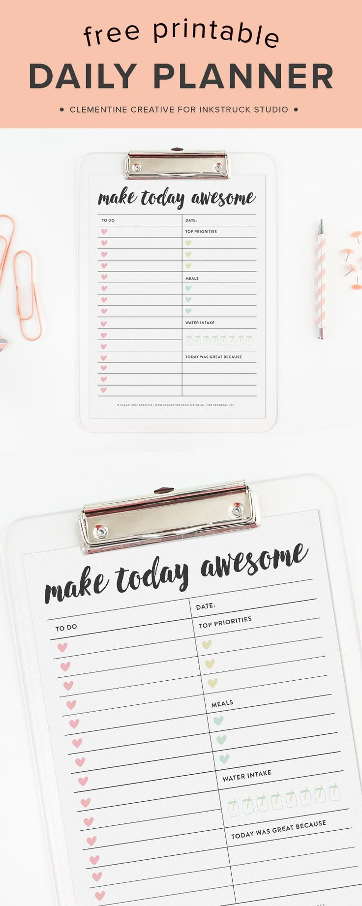 No More Stressing: Use this Free Printable Daily Planner Page