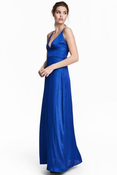 Satin maxi dress - Cornflower blue - Ladies | H&M GB
