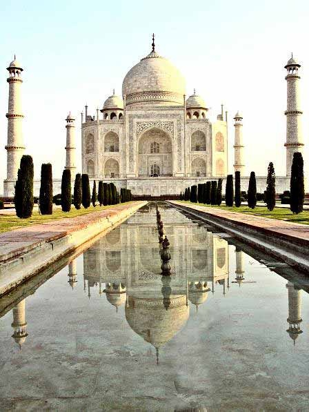 Taj Mahal, India,    One of our 100 places to visit before you die.  (would love to go but the only thing Is I wouldn't eat anything so this is a maybe lol)
