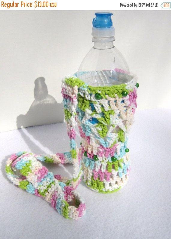 Crochet Cotton Water Bottle Holder Pastel by crochetedbycharlene