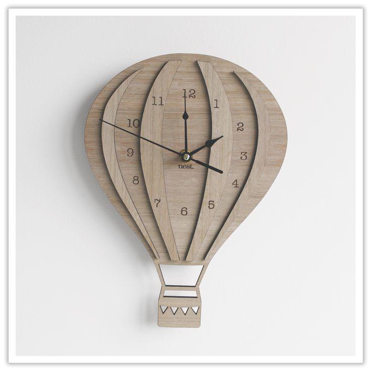 Vintage Skies | Hot Air Balloon laser cut wooden clock cutouts