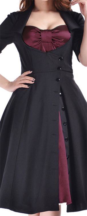 Rockabilly Side Button Bow Dress by Amber Middaugh Plus Size $65.95 Standard Size $55.95