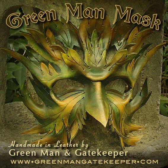 Green Man Mask Handmade in the Ancient Forest of Dean Hand formed and coloured leather £120