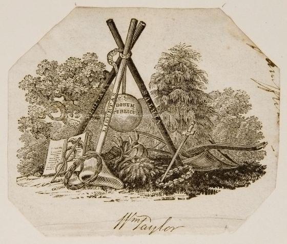 Thomas Bewick, English (1753 - 1828), Ex-Libris William Taylor, Wood engraving, Harvard Art Museums/Fogg Museum, Gift of Charles Bain Hoyt.