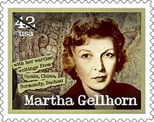 Martha Gellhorn was an American war correspondent. When she was denied press credentials to join the D-Day landings, she impersonated a stretcher-bearer and went anyway; later, she was among the first journalists to cover the liberation of Dachau. Gellhorn covered virtually every major world conflict that took place during her 60-year career. She was the only woman to be honored on a series of US postage stamps about journalists.