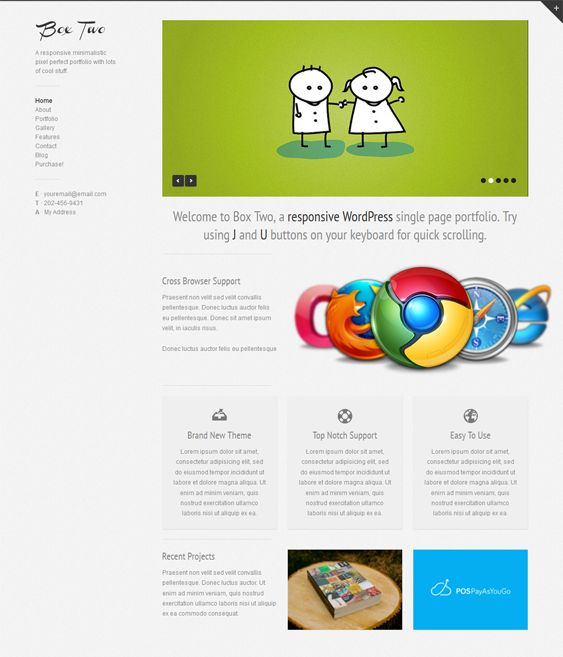 This one page WordPress theme includes a minimal design, a responsive layout, a working Ajax contact form, a filterable portfolio, a like system, over 200 Google Web Fonts, jQuery animations, and more.